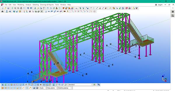 مدلسازی پل عابر پیاده در تکلا استراکچرز